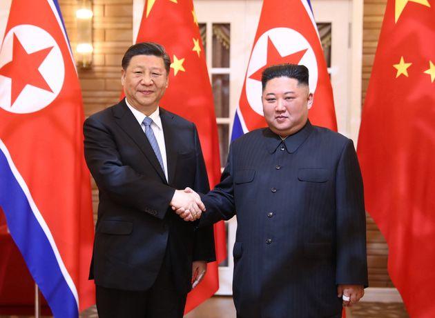 Xi Jinping y Kim Jong Un, el 20 de junio de 2019 (Ju Peng/Xinhua via
