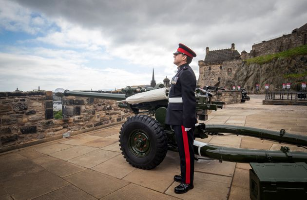 Sergeant David Beveridge prepares to fire a Gun Salute from the ramparts of Edinburgh Castle, to mark...