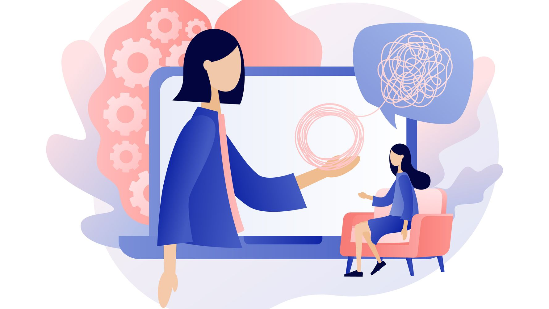 A cartoon image of a woman in a computer screen, offering support to another woman in a chair.