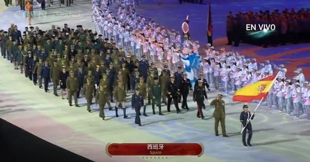Comitiva española en los Juegos Militares de Wuhan, en octubre de