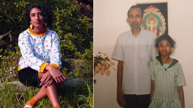 Vyshnavee Wijekumar now (L) and with her dad (R)