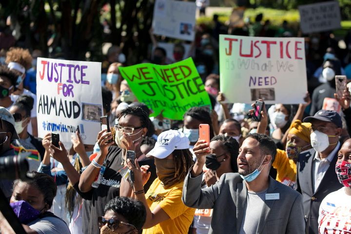 Demonstrators in Brunswick, Georgia, gather Friday to protest the shooting of Ahmaud Arbery, an unarmed Black man killed whil