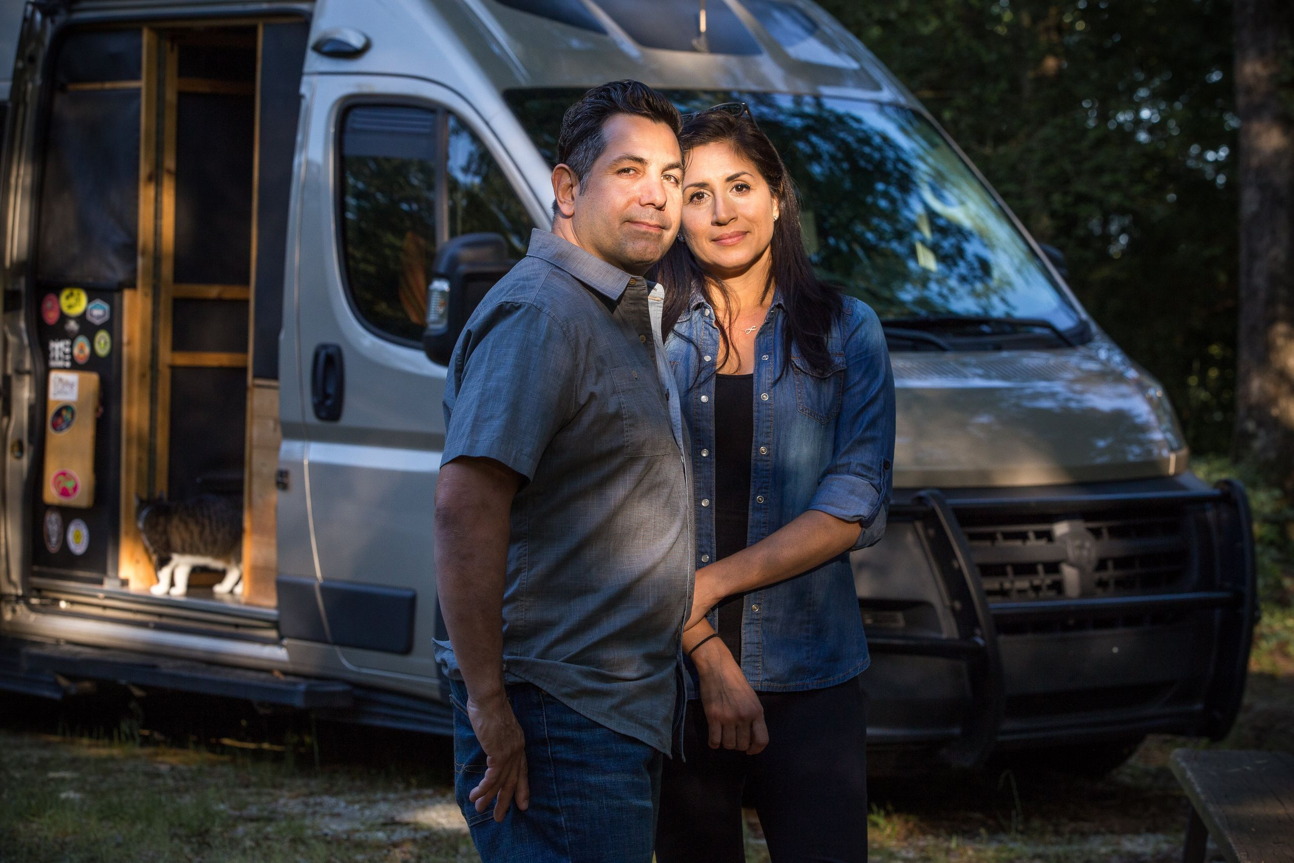 Denny Winkowski and Veronica Ibañes by their RV at Carolina Landing RV Resort in Fair Play, South Carolina, on Ma