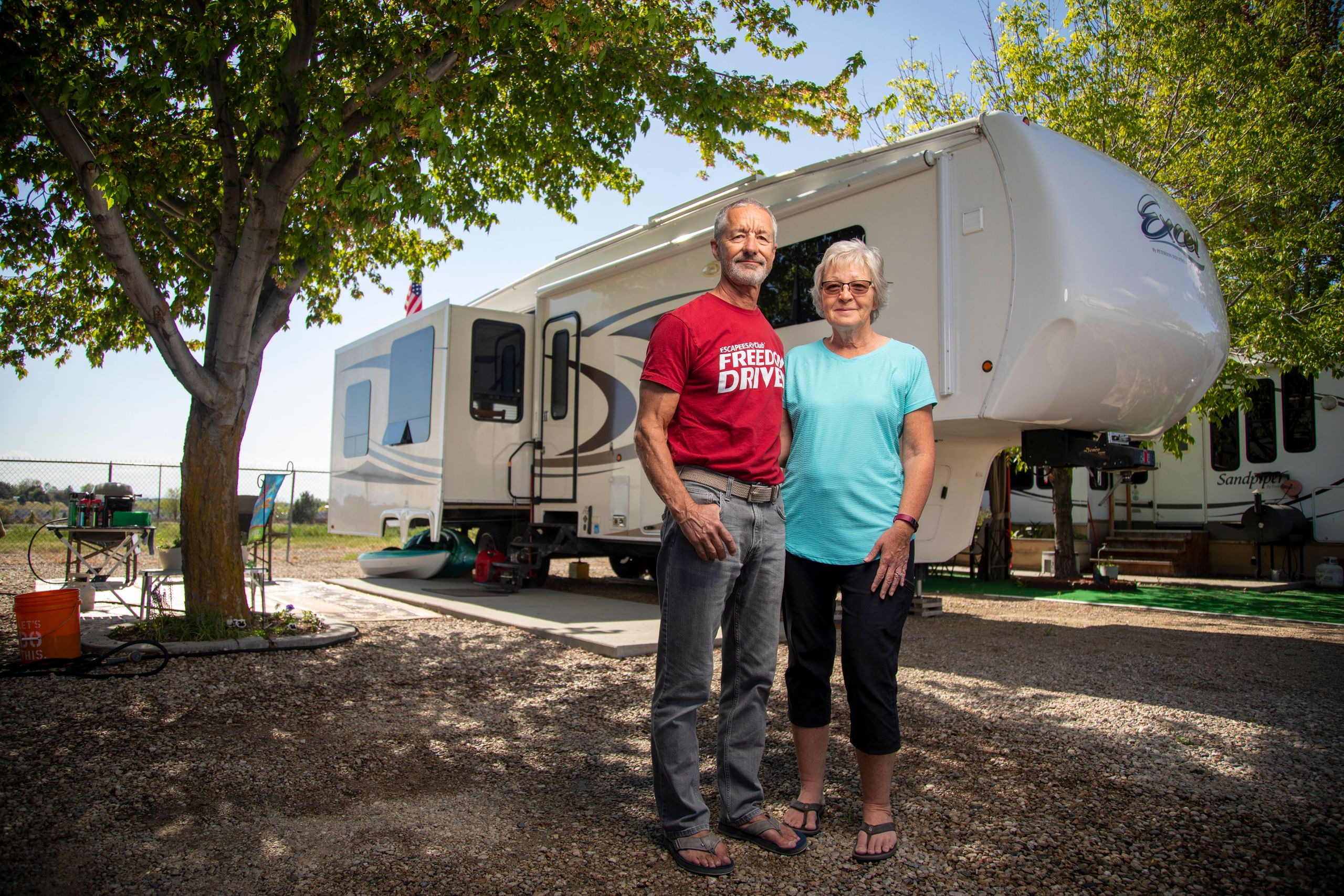 Jean and Duane Mathes with their RV home at the Hi Valley RV Park in Eagle, Idaho. Jean and Duane made it to their reservatio