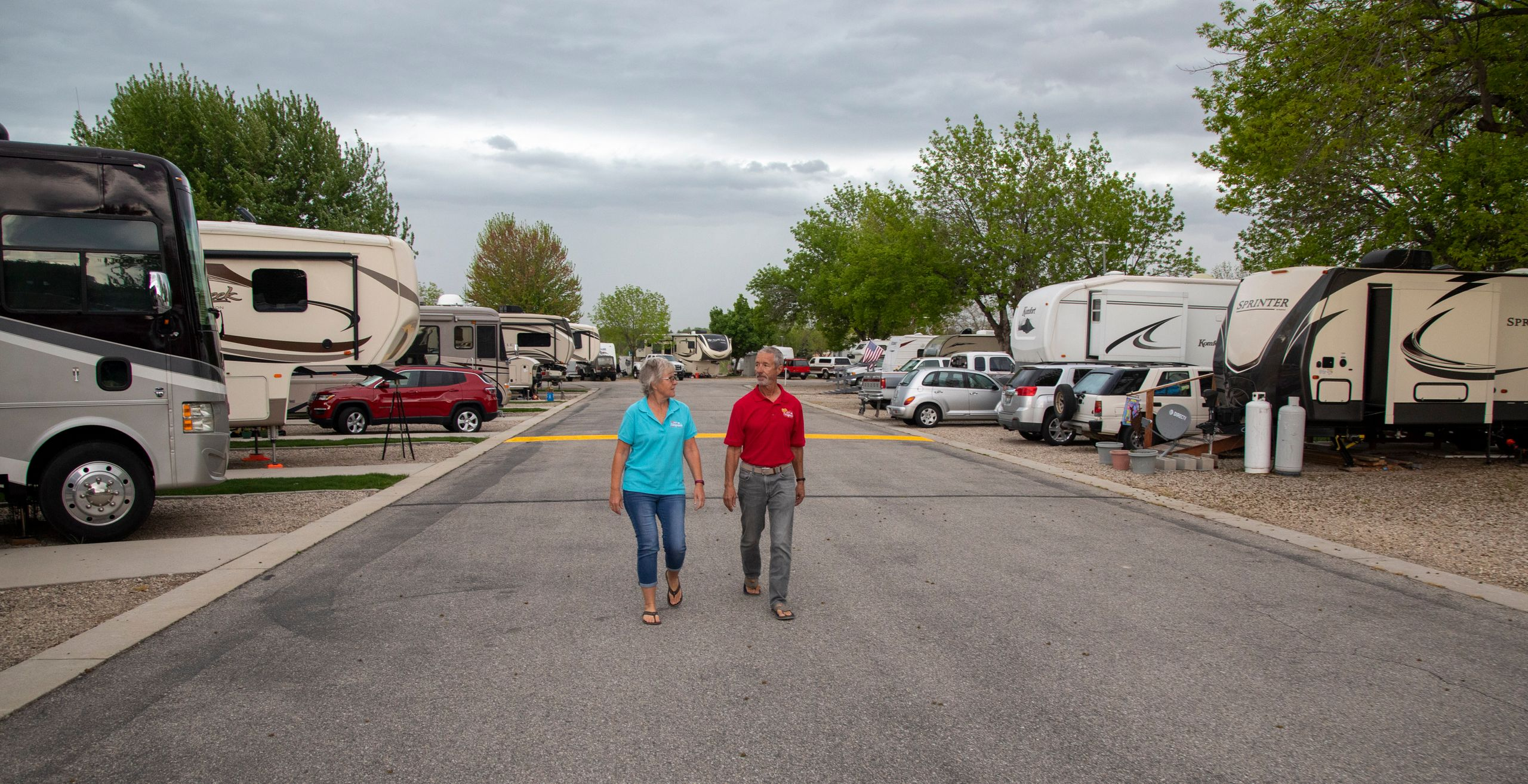 Jean and Duane Mathes take a walk through the Hi Valley RV Park in Eagle, Idaho.