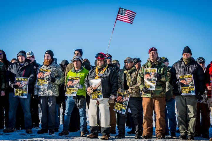 Veterans protest the construction of the Dakota Access Pipeline in December 2016.