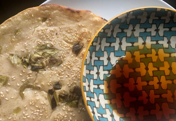 One of our reporters made a scallion pancake with her sourdough starter this week.