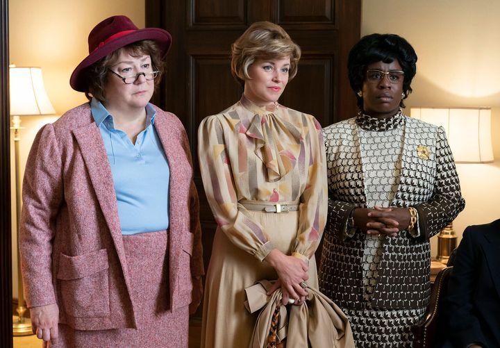 Margo Martindale as Bella Abzug, Elizabeth Banks as Jill Ruckelshaus, Uzo Aduba as Shirley Chisholm. (Photo by Sabrina Lantos/FX)