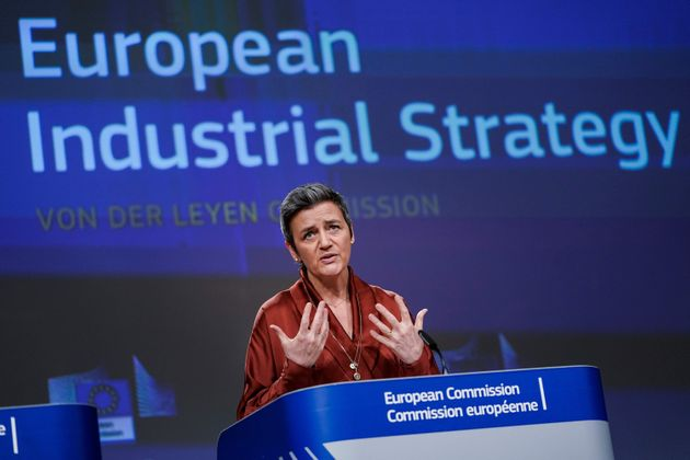 European Commissioner for Competition Margrethe Vestager speaks during a press conference at the Berlaymont...