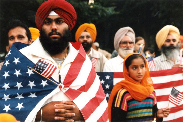 Sikh Americans at a vigil in New York's Central Park after the Sept. 11 attacks in 2001.