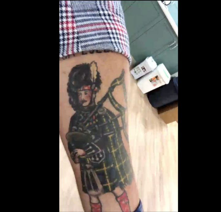 On a video chat from Sydney, Australia, Anthony Field talked about his early-morning bagpipe habit and showed off his piper tattoo.