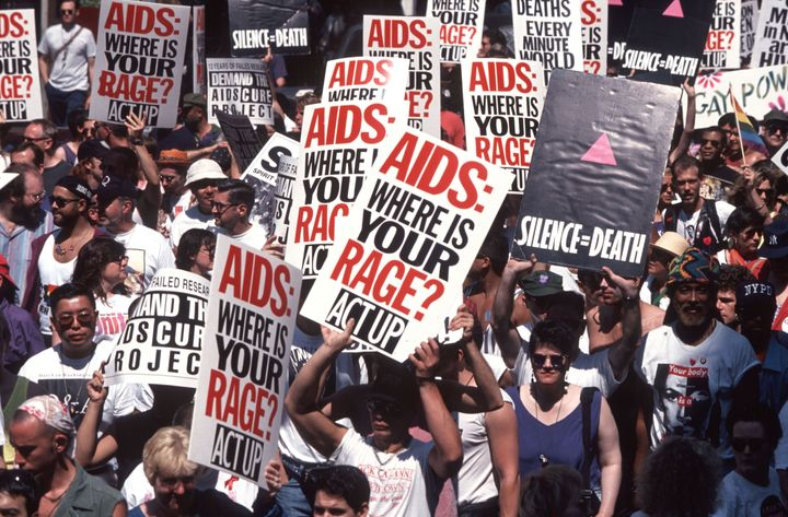 25th Annual Gay Pride Parade in NYC: Act Up Demo protesting AIDS epidemic, New York, New York, June 26, 1994. (Photo by Allan Tannenbaum/Getty Images)