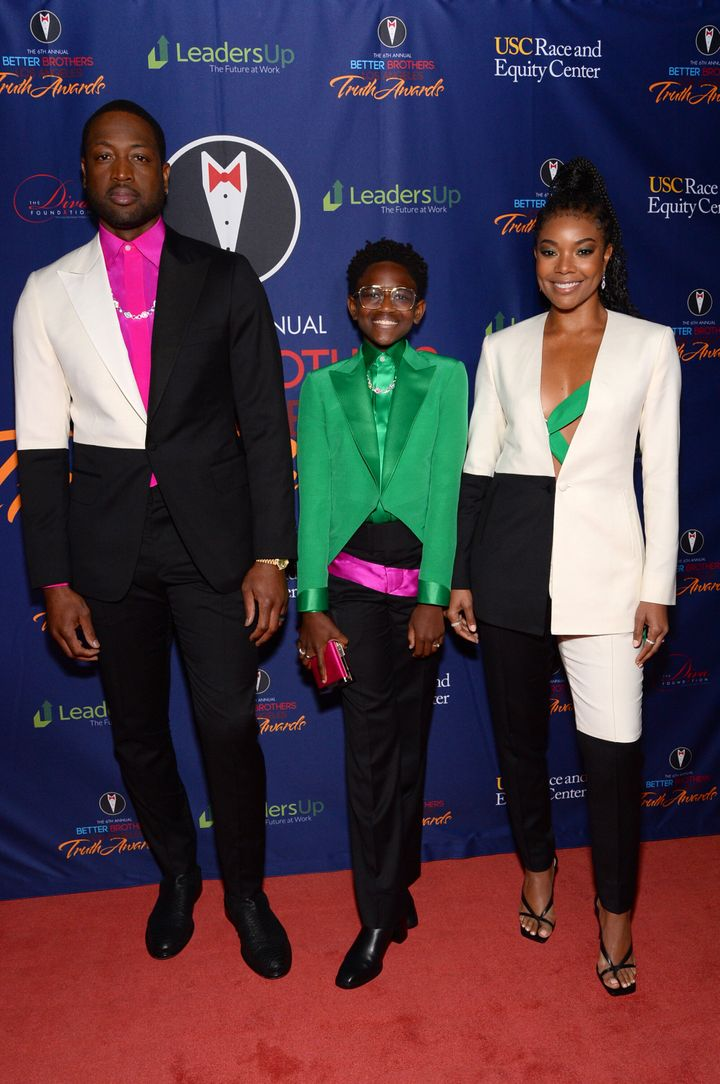 Dwyane Wade, Zaya Wade and Gabrielle Union attend the Better Brothers Los Angeles sixth annual Truth Awards at Taglyan Comple