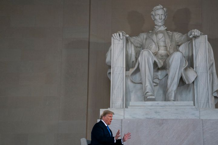 President Donald Trump speaks during a Fox News virtual town hall at the Lincoln Memorial on May 3.
