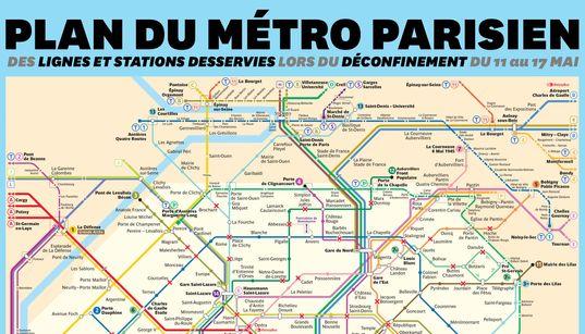 Le plan du métro de Paris et ses stations fermées pour le