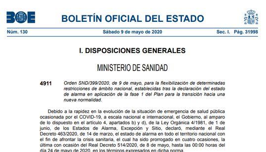 Consulta aquí la orden ministerial con todos los detalles de la fase 1 de la