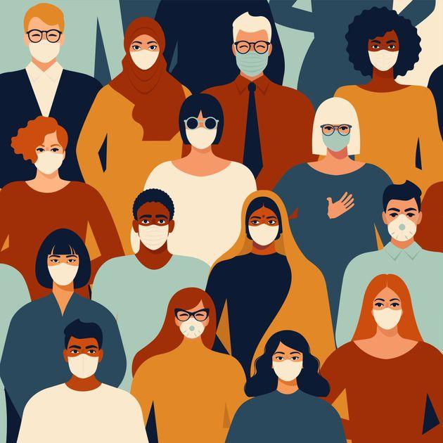 Coronavirus in China. Novel coronavirus (2019-nCoV), people in white medical face mask. Concept of coronavirus...