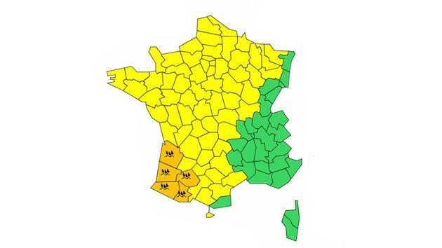 Cinq départements du sud-ouest de la France ont été placés en vigilance orange pluie-inondation alors...