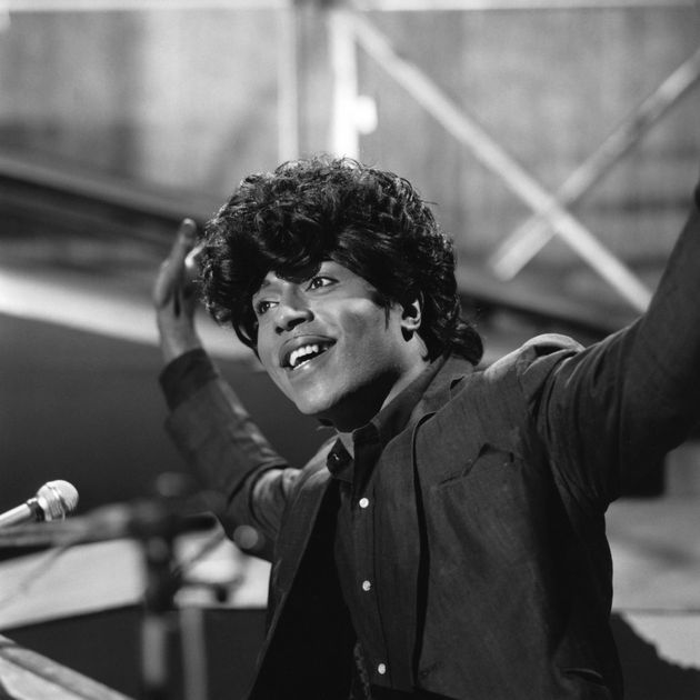American singer and musician Little Richard seated at a piano on a television show in London circa 1966....