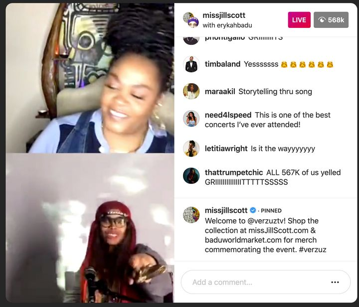Erykah Badu and Jill Scott battle it out on Instagram Live.