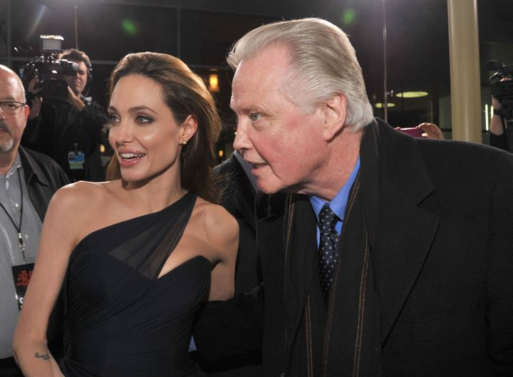 "Angelina Jolie and Jon Voight at the premiere of ""In the Land of Blood and Honey"" in 2011."