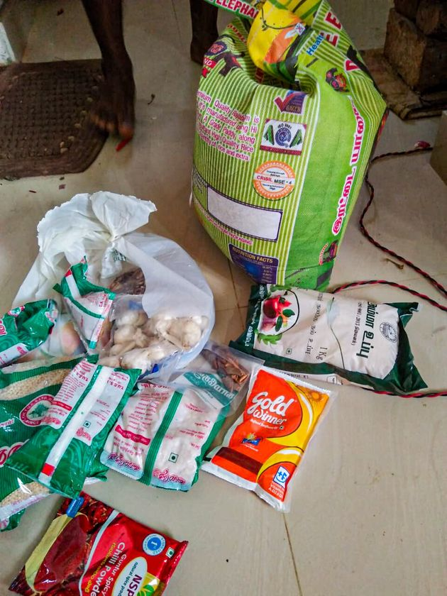 A picture shared by a worker of dry rations handed out by the local administration on Monday, May