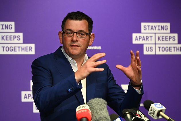 MELBOURNE, AUSTRALIA - MAY 11: Victorian premier Daniel Andrews speaks to the media on May 11, 2020 in...