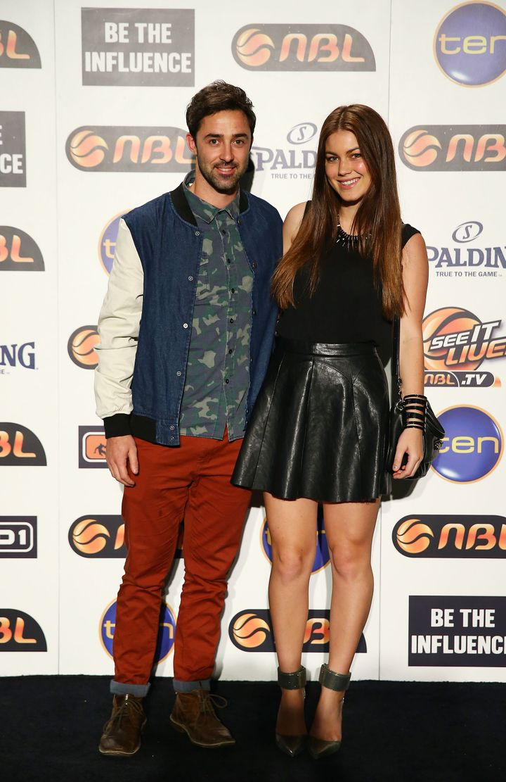 SYDNEY, AUSTRALIA - SEPTEMBER 19: Andy Allen (L) and Charlotte Best (R) pose during the 2013/14 NBL Official Season Launch at The Entertainment Quarter on September 19, 2013 in Sydney, Australia.