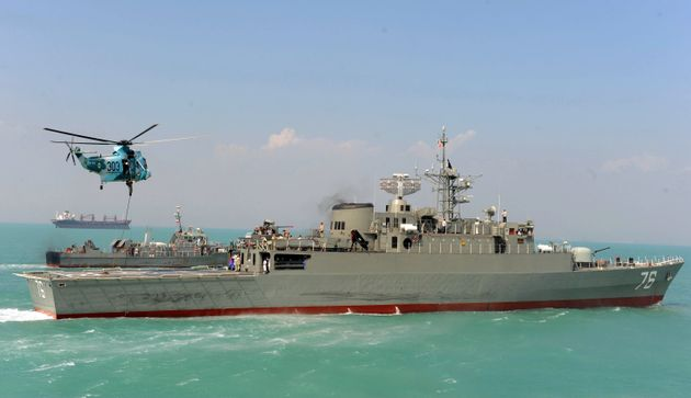 Iran's first domestically made destroyer Jamaran sails in the Gulf on February 21,