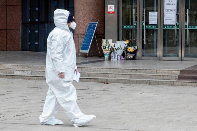 A medic walks pasta hospital in Wuhan,