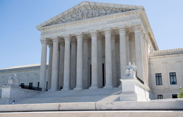 The U.S. Supreme Court is seen in Washington, DC, on May 4, 2020, during the first day of oral arguments held by telephone, a