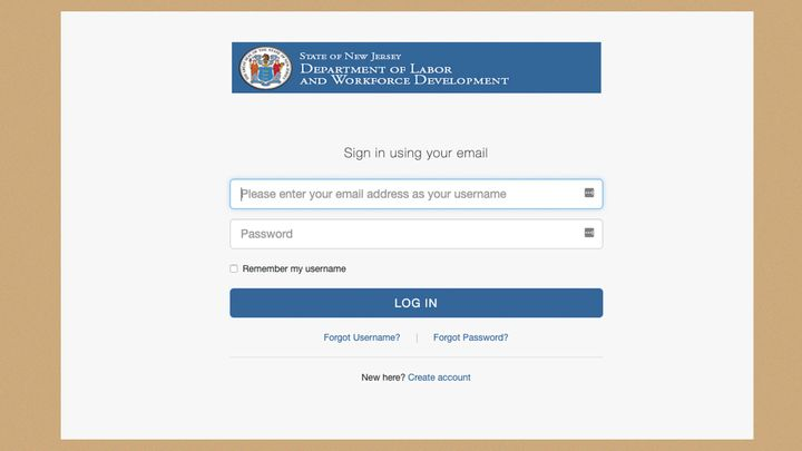 A screenshot of the login page for New Jersey's unemployment website.