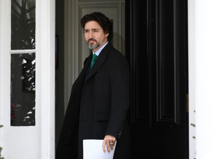 Prime Minister Justin Trudeau arrives for his daily news conference on the COVID-19 pandemic outside his residence at Rideau Cottage in Ottawa on May 11, 2020.