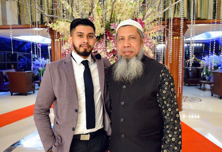 Shafat Uddin and his father, AKM Monir Uddin. Shafat couldn't attend his father's funeral after the 63-year-old died of the c