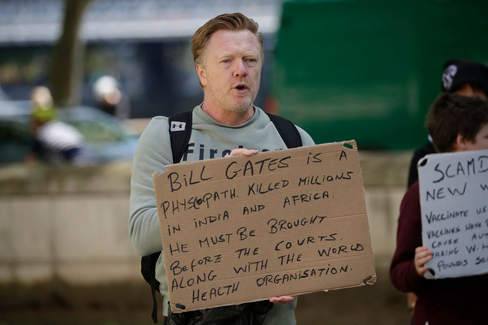One of the protester's at a recent anti-lockdown, anti-vaccine, anti-5G protest near Scotland Yard in London.