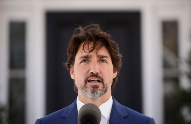 Prime Minister Justin Trudeau holds a press conference at Rideau Cottage during the COVID-19 pandemic...