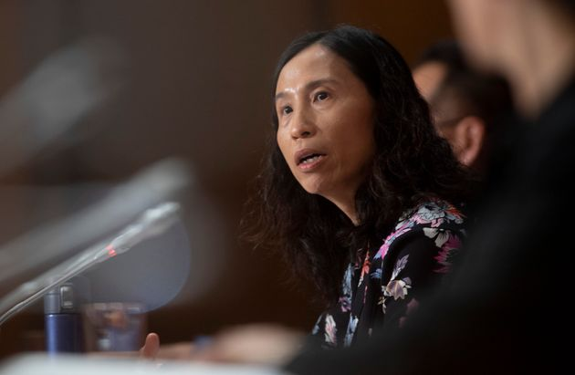Canada's Chief Public Health Officer Theresa Tam responds to a question on Parliament Hill on May 11,...
