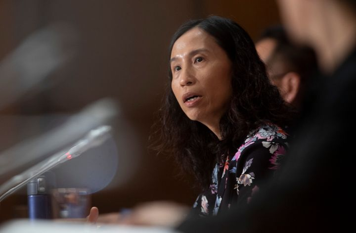 Canada's Chief Public Health Officer Theresa Tam responds to a question on Parliament Hill on May 11, 2020 in Ottawa.