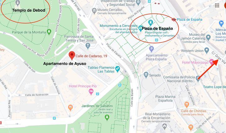 Ubicación del apartamento en el que está confinada Díaz Ayuso en el centro de Madrid.