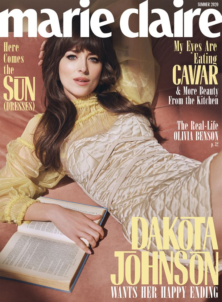Dakota Johnson stars on the cover of Marie Claire's summer 2020 issue.