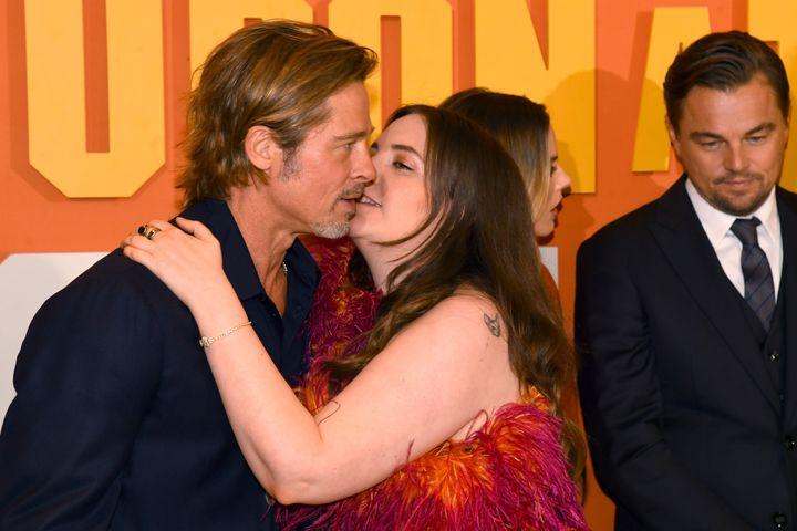 Lena Dunham's embrace of Brad Pitt at the U.K. premiere of
