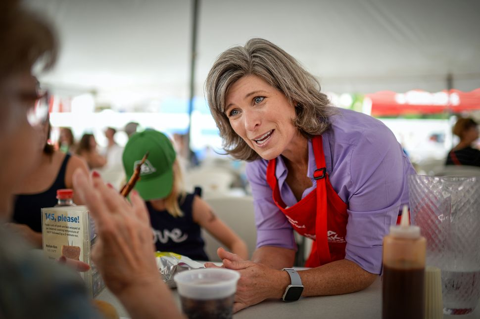 Sen. Joni Ernst talks to voters at the Iowa State Fair last August. Democrats are trying to capitalize on her suggestion that