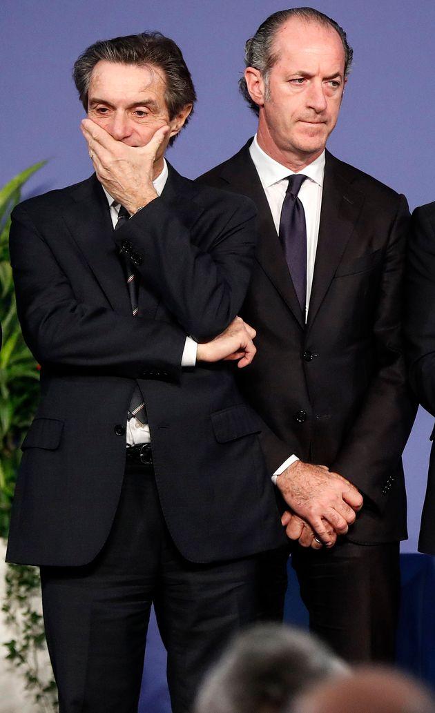 Attilio Fontana (S), presidente della Regione Lombardia, e Luca Zaia (D), presidente della Regione Veneto,...