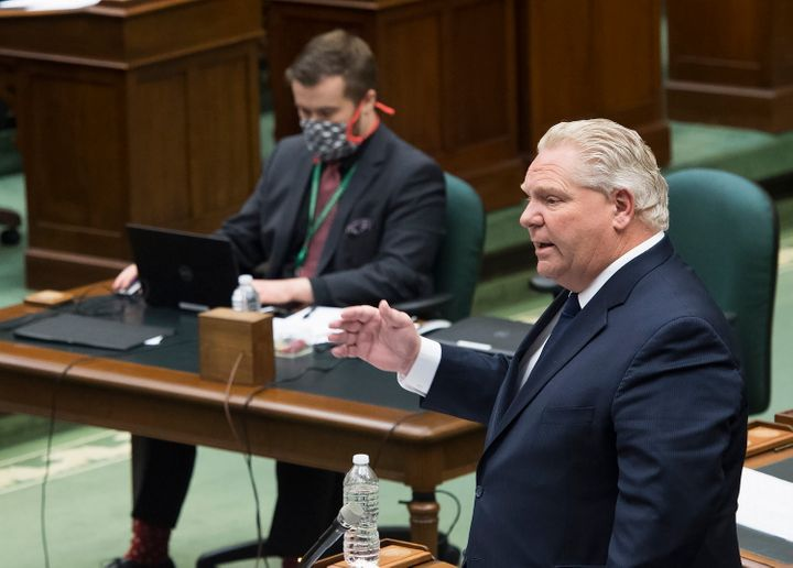 Ontario Premier Doug Ford speaks at the legislature during the COVID-19 pandemic in at Queen's Park in Toronto on May 12, 2020.