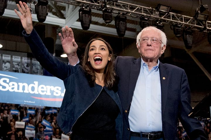 Sen. Bernie Sanders (I-Vt.) and Rep. Alexandria Ocasio-Cortez (D-N.Y.) at a campaign stop in Durham, New Hampshire, on Feb. 1