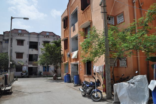 Houses in the residential area of Kannagi Nagar serve for the resettlement of the people who lived in...