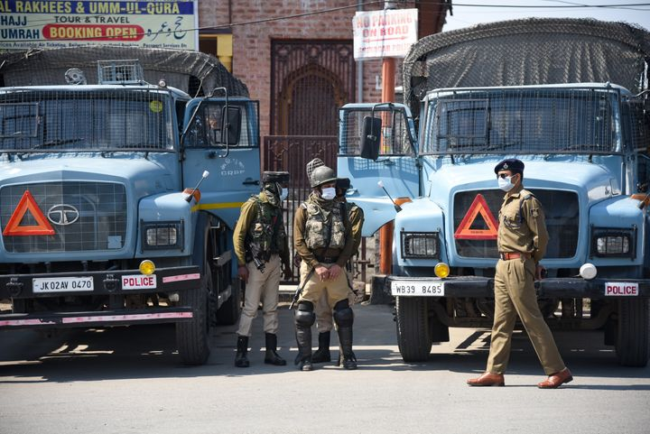 Paramilitary troopers seen in Srinagar.