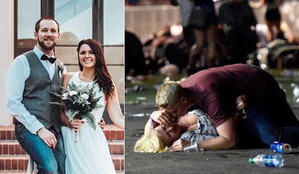 Austin e Chantal il giorno delle loro nozze e una delle foto simbolo della sparatoria di Las Vegas del