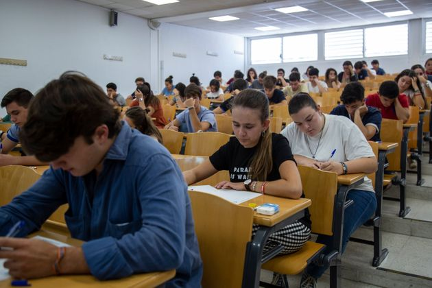 SEVILLA, SPAIN - SEPTEMBER 10: Students sit a university selectivity test at the Faculty of Mathematics...