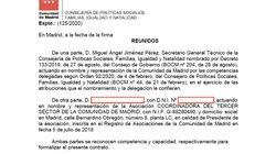 Madrid defiende la veracidad del contrato con la Coordinadora del Tercer